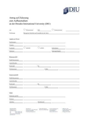 Antrag auf Zulassung zum Aufbaustudium an der Dresden ...