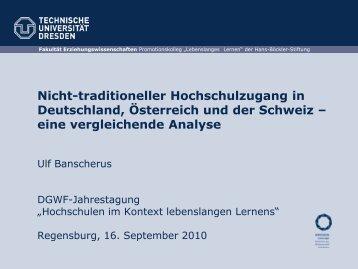 Nicht-traditioneller Hochschulzugang in Deutschland ... - DGWF