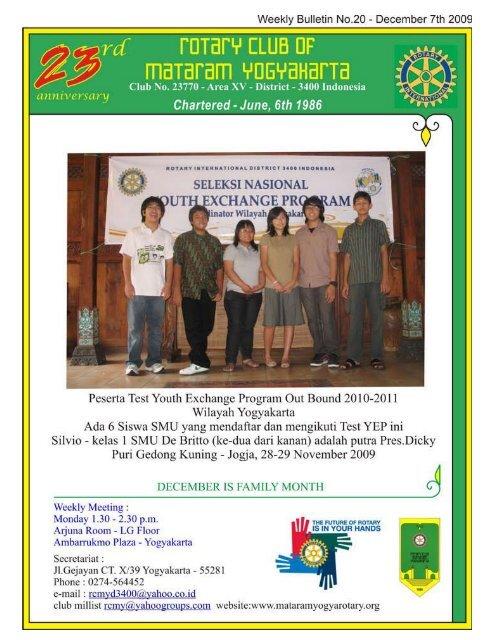 1 No 20idecember 07thi2009 Rotary Club Of Mataram Yogyakarta