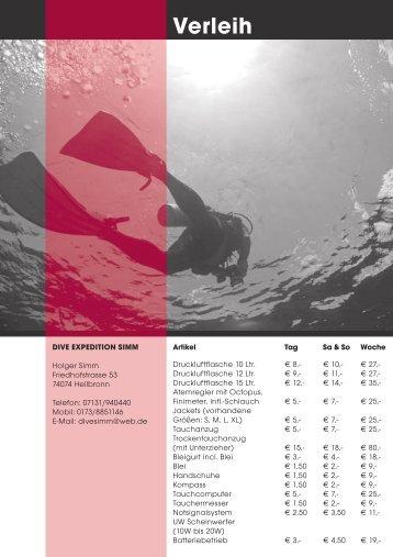 Verleih - Dive Expedition Simm