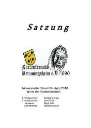 S a t z u n g - Narrenfreunde Remmingsheim eV