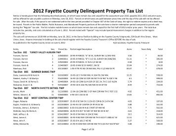 2012 Fayette County Delinquent Property Tax List