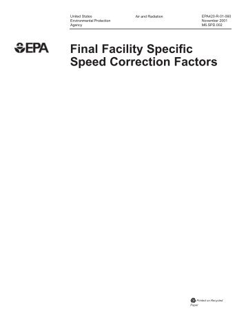 Final Facility Specific Speed Correction Factors - US Environmental ...