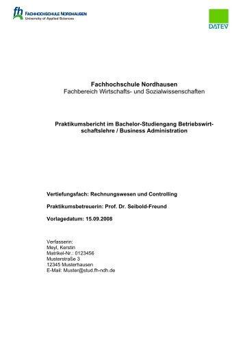 Fachhochschule Nordhausen Fachbereich Wirtschafts- und ...