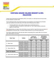 centara grand island resort & spa maldives - Diethelm Travel Asia