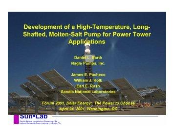 Development of a High-Temperature, Long-Shafted, Molten ... - NREL