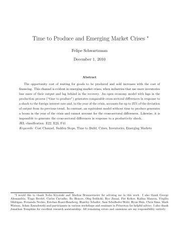Time to Produce and Emerging Market Crises - UCSB Economics