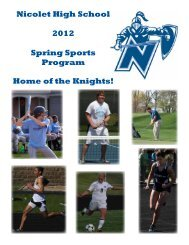 Nicolet High School 2012 Spring Sports Program Home of the Knights!