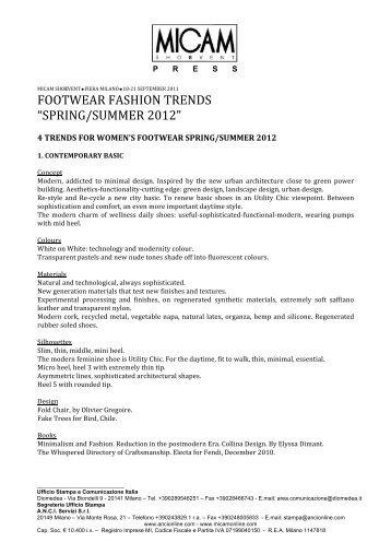 "FOOTWEAR FASHION TRENDS ""SPRING/SUMMER 2012"" - Micam"
