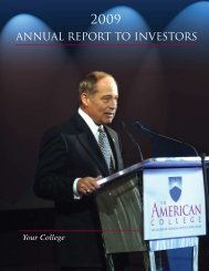 ANNUAL REPORT TO INVESTORS - The American College