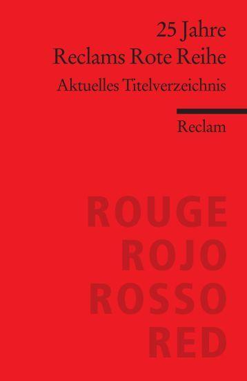 25 Jahre Reclams Rote Reihe - Aktuelles Titelverzeichnis