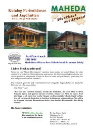Katalog Ferienhäuser und Jagdhütten - Maheda Blockhaus
