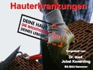 Vortrag von Herrn Dr. Konerding, arbeitsmedizinischer Dienst der
