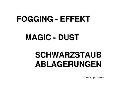 Fogging Effekt Magic Dust Schwarzstaub