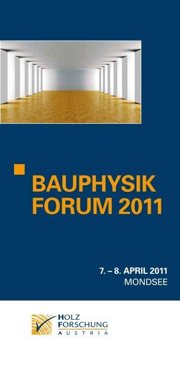 BAUPHYSIK FORUM 2011 - proHolz