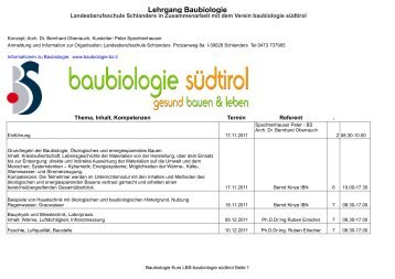 Lehrgang Baubiologie - Baubiologie Südtirol