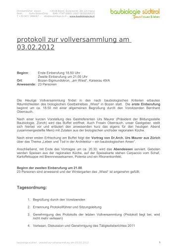Kassabericht 2011 - Baubiologie Südtirol