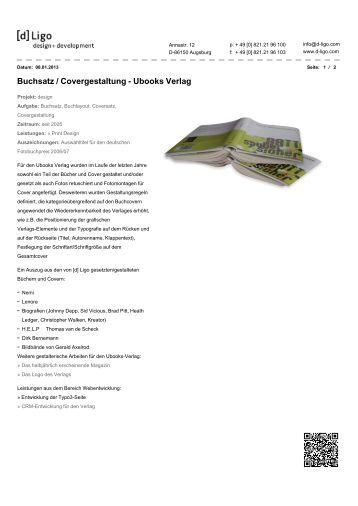 Buchsatz / Covergestaltung - Ubooks Verlag - [d]Ligo - - design + ...