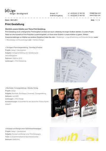 Print Gestaltung - [d]Ligo - - design + development