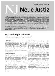 Substantiierung im Zivilprozess - Neue Justiz