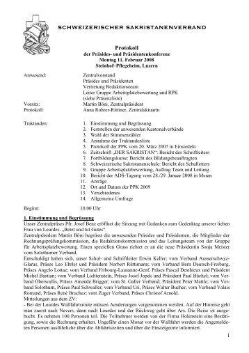 Protokoll - Schweizerischer Sakristanenverband