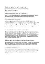 LBS Rheinland-Pfalz Newsletter Dezember 2012 vom 20.12.