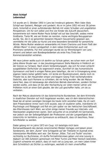 Selbstbeschreibung - Alois Schöpf