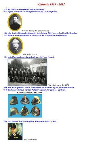 Chronik 1919 - 2012 - Feuerwehr Weisses Kreuz