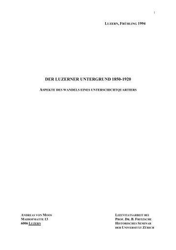 DER LUZERNER UNTERGRUND 1850-1920 - Terminus Textkorrektur