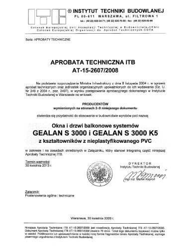 Aprobata Techniczna - Okna pcv