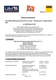 Announcement 2nd ADAC Motorboat Grand Prix Lausitz