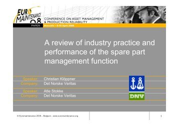 Spare Part Management Function - Euromaintance ... - DNV Germany