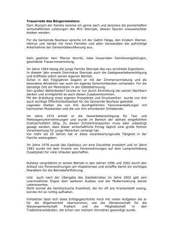 Trauerrede des Bürgermeisters: Dem Wunsch der ... - Neuhaus