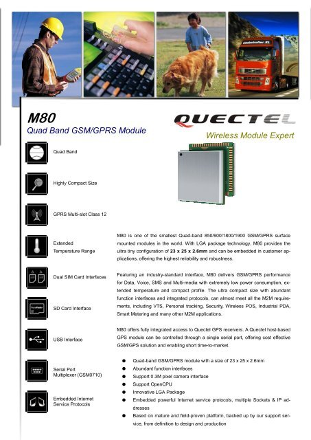 M80 Quad Band GSM/GPRS Module - Quectel Wireless Solutions