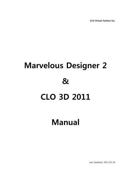 Marvelous Designer 2 Clo 3d 2011 Manual