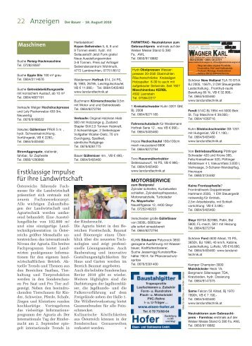 Der Bauer . 18. August 2010 - Agrarnet Austria