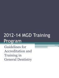 2012-14 MGD Training Program - College of Dental Surgeons of ...