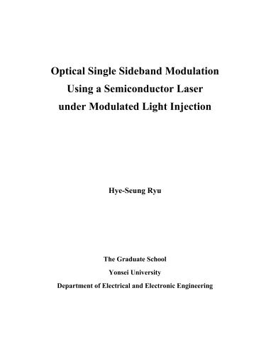Optical Single Sideband Modulation Using a Semiconductor Laser ...