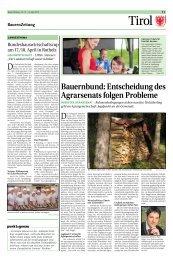 Entscheidung des Agrarsenats folgen Probleme - Tiroler Bauernbund