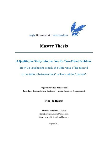 Master Thesis A Qualitative Study Into The Coach