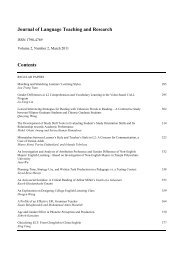 Journal of Language Teaching and Research Contents - Academy ...