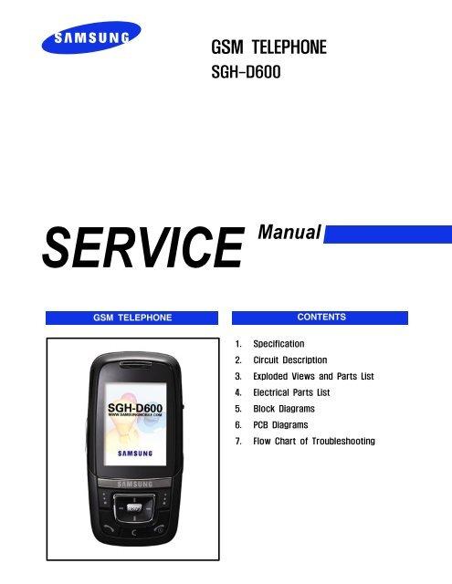 Samsung SGH-D600 service manual pdf - FAQ4Mobiles de