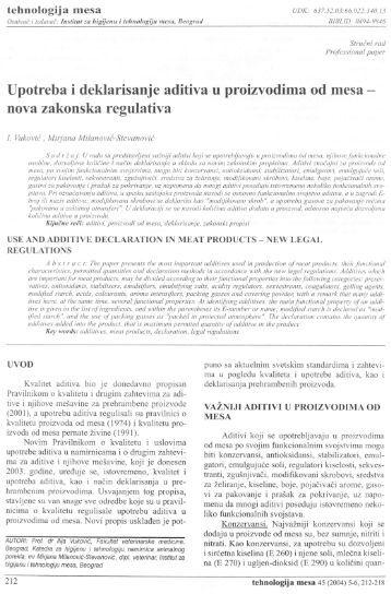 Upotreba i deklarisanje aditiva u proizvodima od mesa - Institut za ...