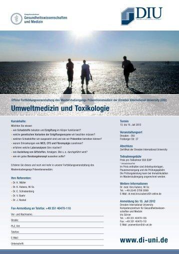 Umweltmedizin und Toxikologie - Dresden International University