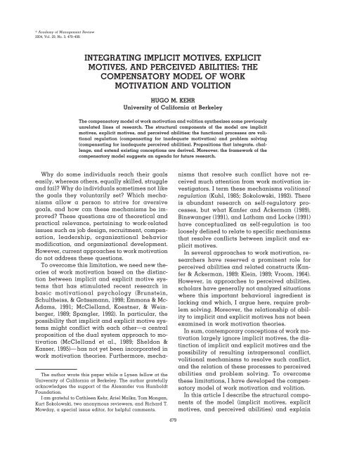 The Compensatory Model Of Work Motivation And Volition