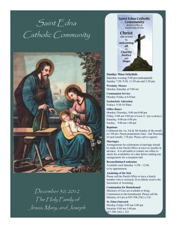 Wednesday, January 9, 2013, 7:00 pm - St. Edna Catholic Church