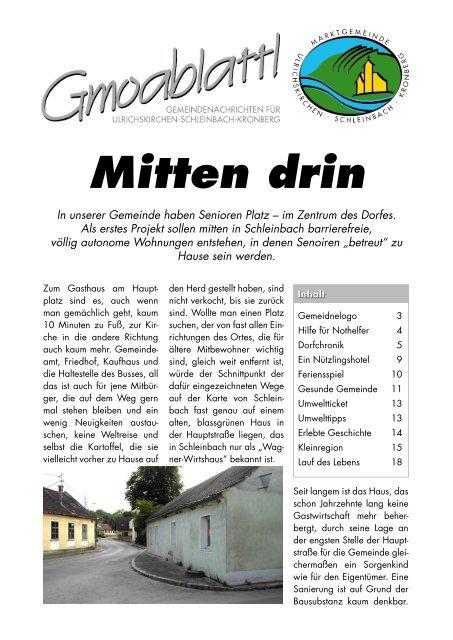 Ulrichskirchen-schleinbach leute kennenlernen Partnersuche ab 50