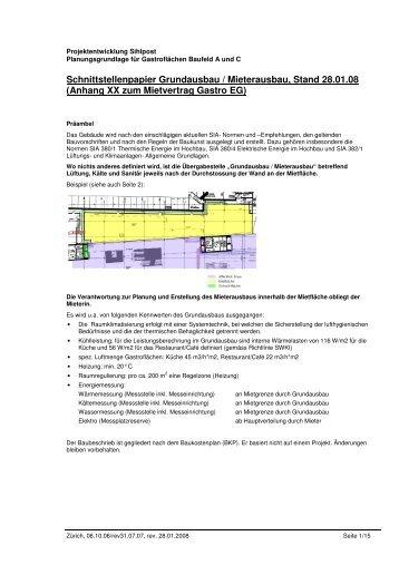 Schnittstellenpapier Grundausbau - Markt Lagerstrasse