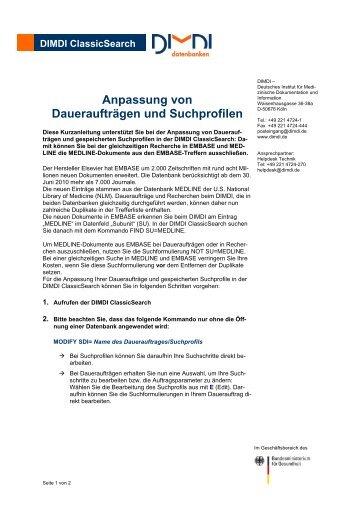 Anpassung von Daueraufträgen und Suchprofilen - DIMDI