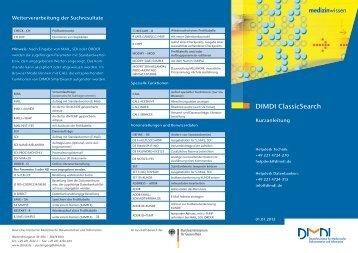 Kurzanleitung DIMDI ClassicSearch ( PDF , 1 MB )